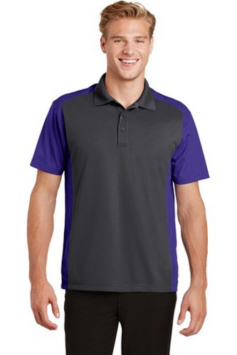 Sport-Tek Mens Colorblock Micropique Sport-Wick Polo Grey/Purple Main Image