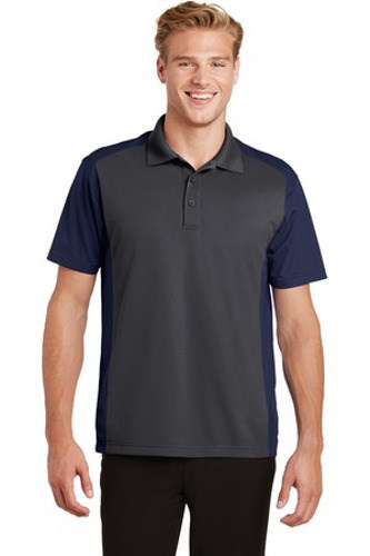 Sport-Tek Mens Colorblock Micropique Sport-Wick Polo Grey/Navy Main Image