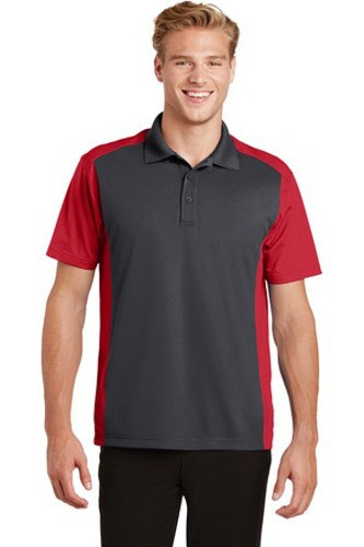 Sport-Tek Mens Colorblock Micropique Sport-Wick Polo Grey/Red Main Image