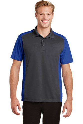Sport-Tek Mens Colorblock Micropique Sport-Wick Polo Grey/Royal Main Image