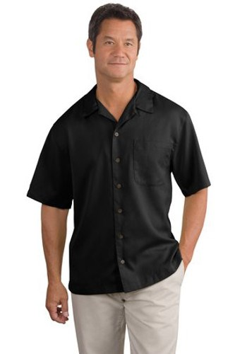 Port Authority Mens Easy Care Camp Shirt Black Main Image