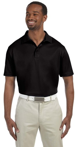 Harriton Mens 4 oz Polytech Polo Black Main Image