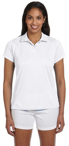 Harriton Womens 4oz Polytech Polo Shirt | White