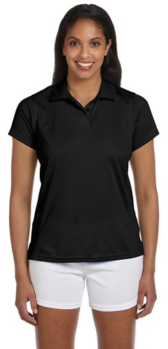 Harriton Womens 4 oz Polytech Polo Black Main Image