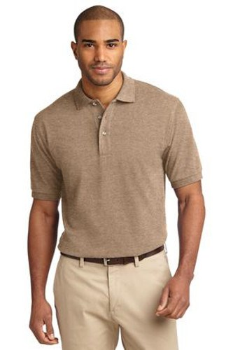 Port Authority Mens Pique Knit Sport Khaki Heather Main Image