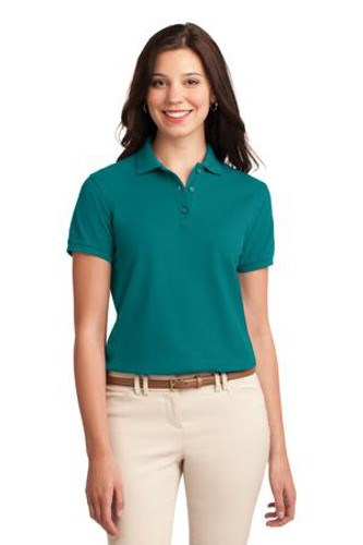 Port Authority Womens Silk Touch Polo Shirt Teal Green Main Image