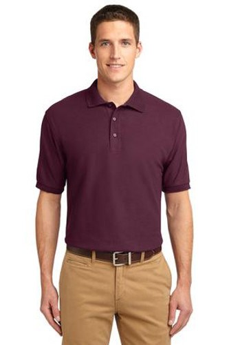 Port Authority Mens Silk Touch Polo Shirt Maroon Main Image