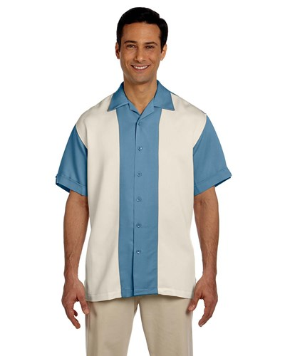 Harriton Men's Bahama Cord Camp Shirt | Cloud Blue/Creme