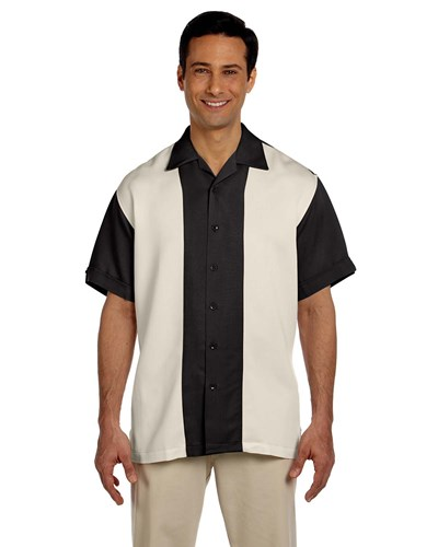 Harriton Men's Two-Tone Bahama Cord Camp Shirt Black/Creme Main Image