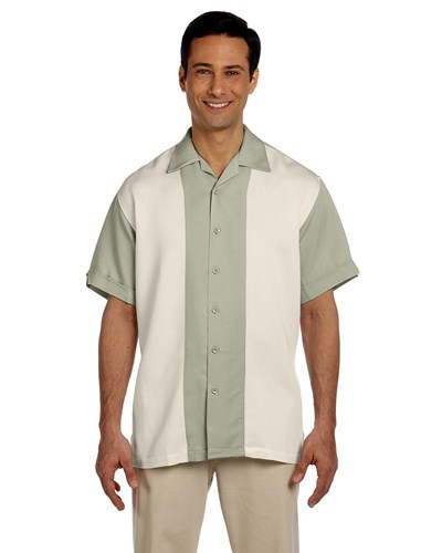 Harriton Men's Two-Tone Bahama Cord Camp Shirt Green Mist/Creme Main Image