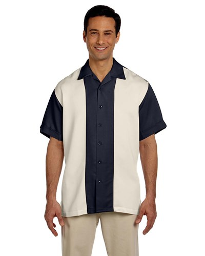Harriton Men's Two-Tone Bahama Cord Camp Shirt Navy/Creme Main Image