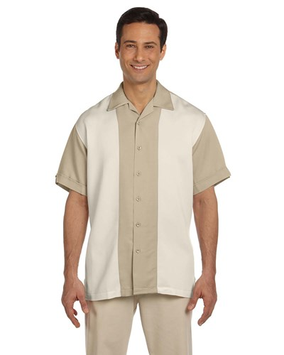 Harriton Men's Two-Tone Bahama Cord Camp Shirt Sand/Creme Main Image