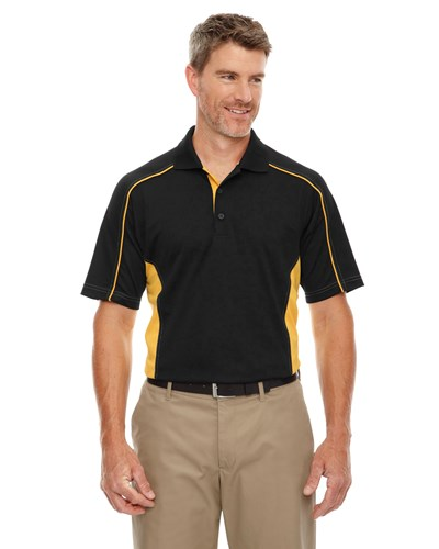 Ash City Mens Fuse Polo Black/Campus Gold Main Image