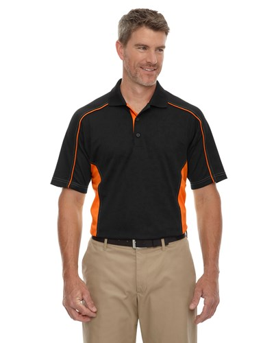 Ash City Mens Fuse Polo Black/Orange Main Image