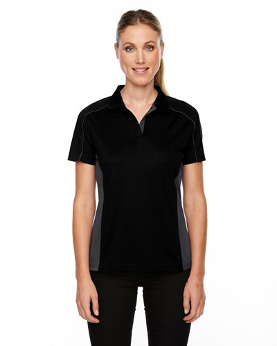 Ash City Womens Fuse Polo | Black/Grey