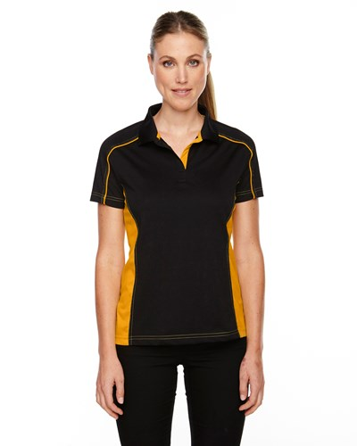 Ash City Womens Fuse Polo Black/Campus Gold Main Image