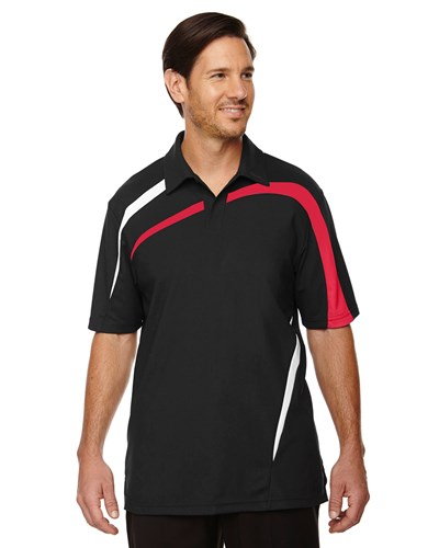 Ash City Mens Impact Performance Polo | Black/Red/White