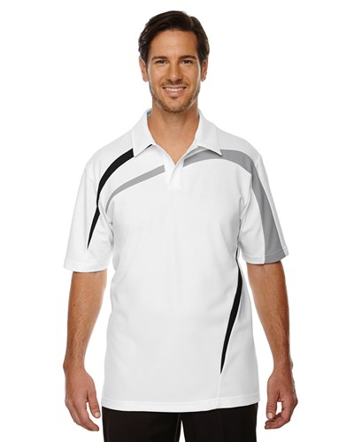 Ash City Mens Impact Performance Polo White/Grey/Black Main Image