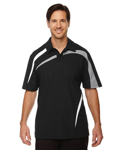 Ash City Mens Impact Performance Polo Black/Grey/White Main Image
