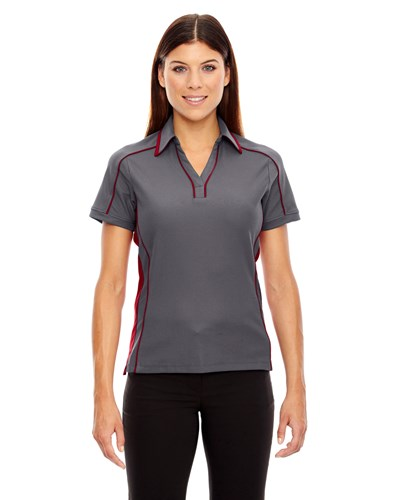 Ash City Womens Sonic Performance Polo Black Silk/Sport Red Main Image
