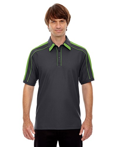 Ash City Mens Sonic Performance Polo Black Silk/Acid Green Main Image