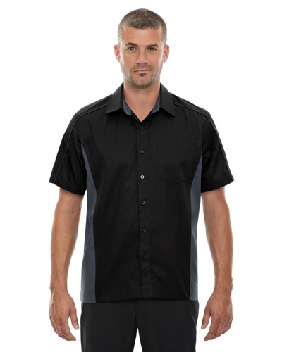 Ash City Mens Fuse Colorblock Camp Shirt Black Main Image