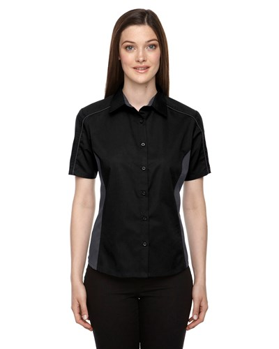 Ash City Womens Fuse Colorblock Camp Shirt | Black