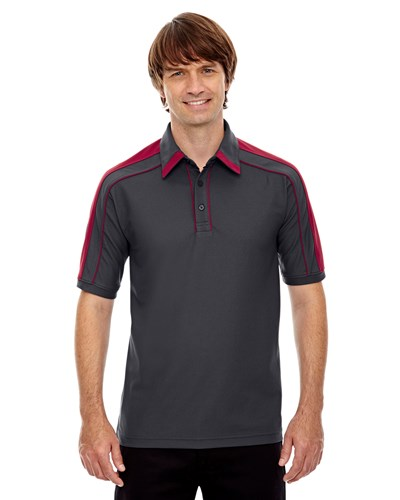 Ash City Mens Sonic Performance Polo Black Silk/Sport Red Main Image