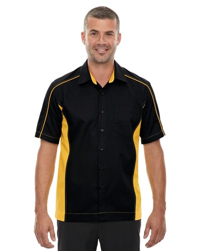 Ash City Mens Fuse Colorblock Camp Shirt Black/Campus Gold Main Image