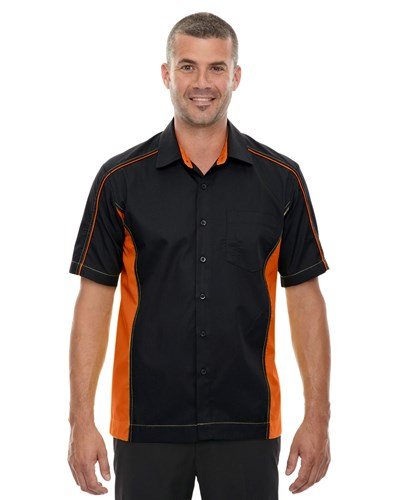 Ash City Mens Fuse Colorblock Camp Shirt Black/Orange Main Image