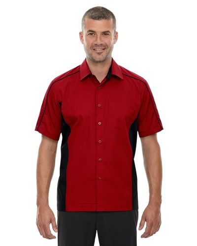 Ash City Mens Fuse Colorblock Camp Shirt Classic Red/Black Main Image