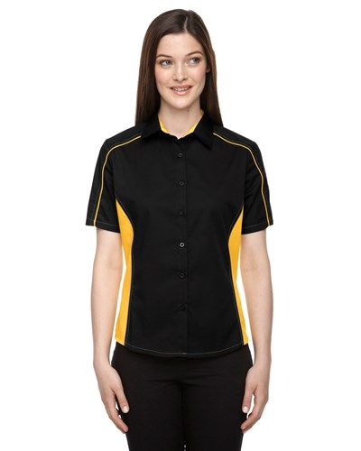 Ash City Womens Fuse Colorblock Camp Shirt Black/Campus Gold Main Image