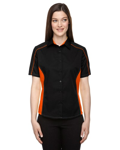 Ash City Womens Fuse Colorblock Camp Shirt Black/Orange Main Image