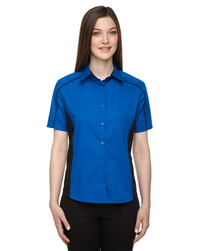 Ash City Womens Fuse Colorblock Camp Shirt True Royal/Black Main Image