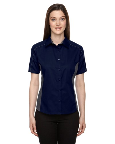 Ash City Womens Fuse Colorblock Camp Shirt Classic Navy/Carbon Main Image