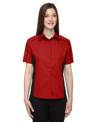 Ash City Womens Fuse Colorblock Camp Shirt Classic Red/Black Main Image